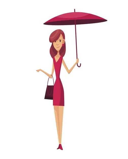 Slecht winderig regenachtig weer grappige cartoon mensen pictogram. vrouw met paraplu die zich onder regen bevindt. karakter met paraplu. Premium Vector