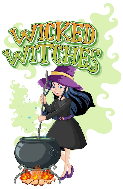 Slechte heksen logo Gratis Vector