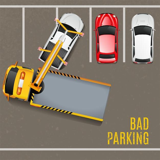 Slechte parkeergelegenheid bovenaanzicht achtergrond Gratis Vector
