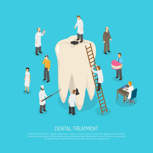 Slechte tand behandeling illustratie Gratis Vector