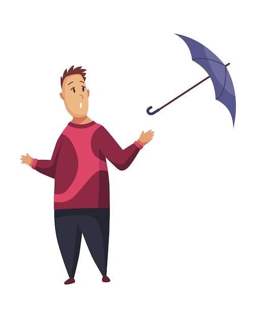 Slechte winderig regenachtig weer grappige cartoon mensen pictogram Premium Vector