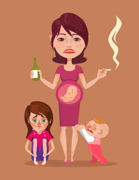 Slechte zwangere dronken rokende moeder met kinderkarakters. Premium Vector