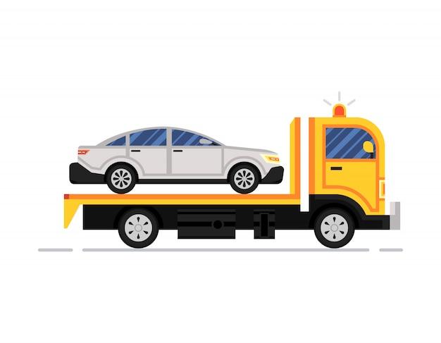 Sleepwagen, vrachtwagen op het werk Premium Vector
