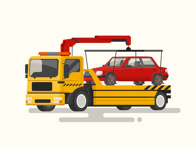 Slepenvrachtwagen die een gebroken machineillustratie vervoeren Premium Vector