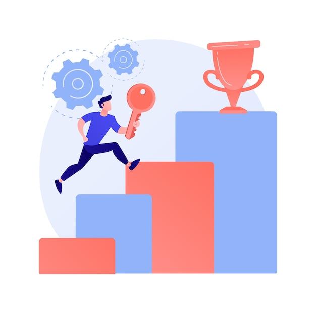 Sleutel tot zakelijk succes. vooruitgang van het bedrijf, geheim leiderschap, ambitieuze plannen. ondernemer die zakelijke kansen benut en een toppositie bereikt. Gratis Vector