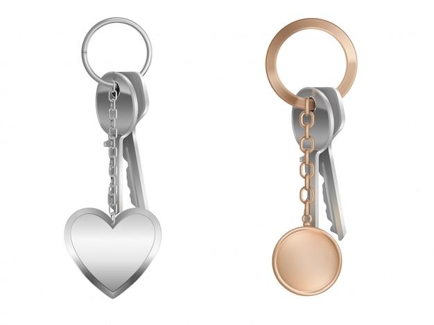 Sleutelbos met sleutelhanger op metalen ring Gratis Vector