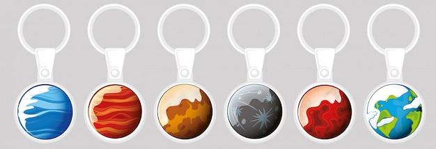 Sleutelhanger sjabloon met verschillende planeten Gratis Vector