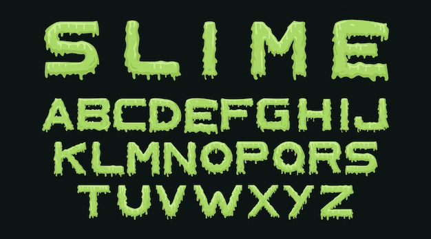Slijm alfabet typografie set Gratis Vector
