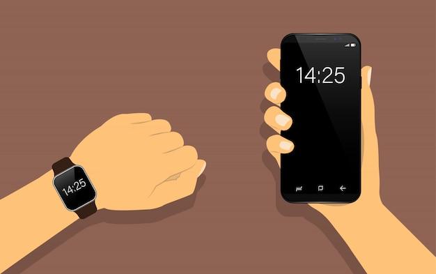 Slim horloge bij de hand en smartphone in de hand. Premium Vector