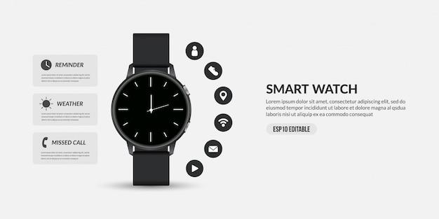 Slim horloge voor zakelijke communicatie, weergave van verschillende functies en pictogrammen van apps Premium Vector