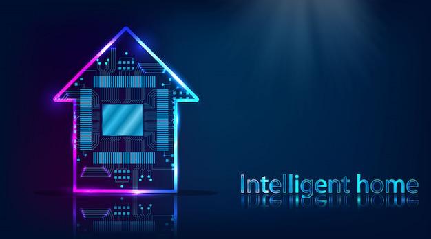 Slim huis. huistechnologiesysteem met draadloze centrale controleachtergrond Premium Vector