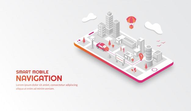 Slim mobiel navigatieconcept met de verbonden isometrische stad Premium Vector