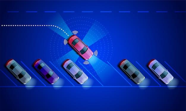 Slimme auto wordt automatisch geparkeerd op de parkeerplaats, het uitzicht vanaf de top. de beveiliging van het parking assist-systeem scant de weg. Premium Vector