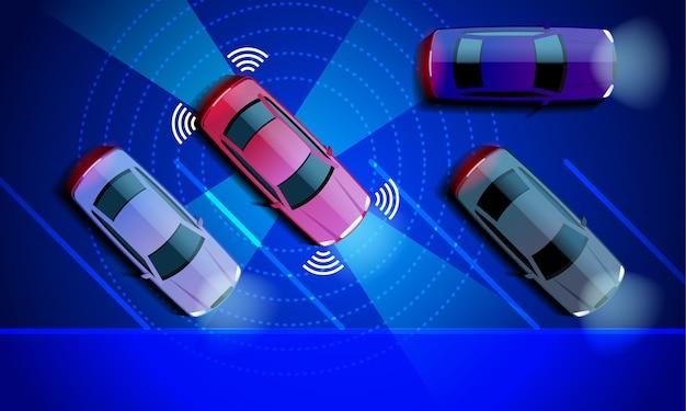 Slimme auto wordt automatisch geparkeerd op de parkeerplaats parking assist-systeem beveiliging scant de weg Premium Vector