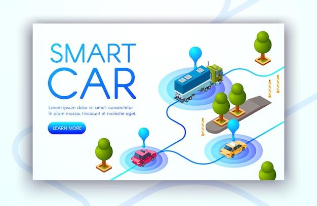 Slimme autotechniek illustratie van locatiebepaling van voertuigen of gps-radars. Gratis Vector