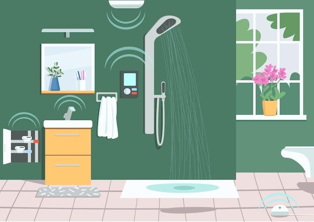 Slimme douche kleur illustratie. internettechnologie, moderne draadloze technologie in het huiselijk leven. lege badkamer cartoon interieur met intelligente toestellen op achtergrond Premium Vector