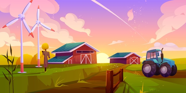 Slimme, ecologische landbouw cartoon afbeelding Gratis Vector