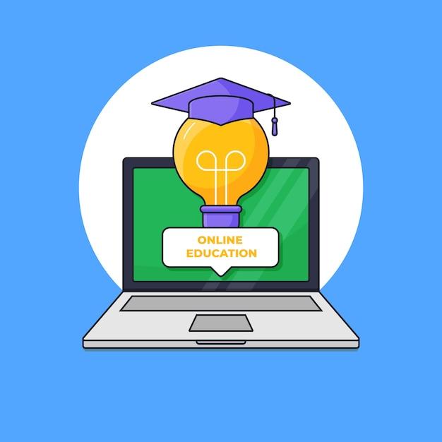 Slimme gloeilamp met een diploma behaalde togahoed uit laptop het scherm voor de digitale online vectorillustratie van het graduatieconcept Premium Vector
