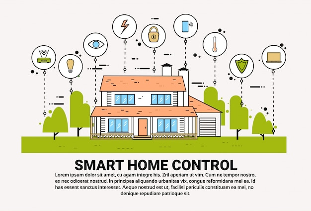 Slimme home control infographic banner gebouw met toezicht pictogrammen moderne huis technologie systeem Premium Vector