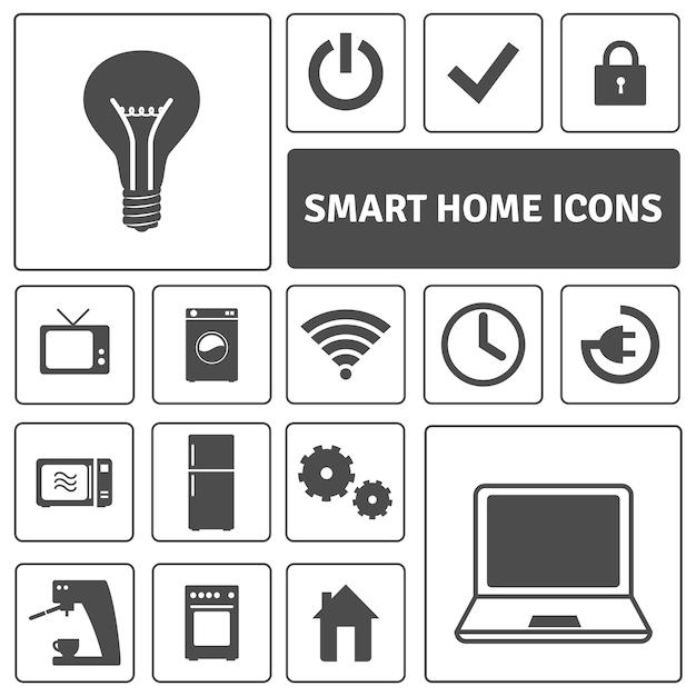 Slimme home icons set Gratis Vector
