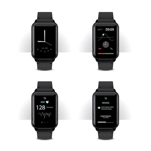 Slimme horloge met digitale display instellen vectorillustratie Gratis Vector