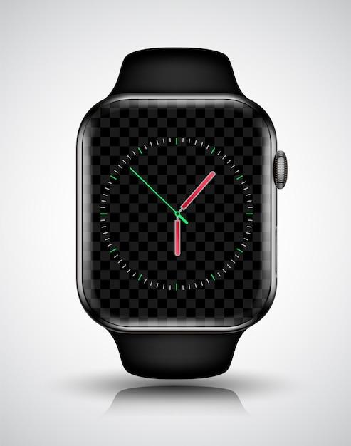 Slimme horloge mockup realistische vectorillustratie voor technologie-element Premium Vector