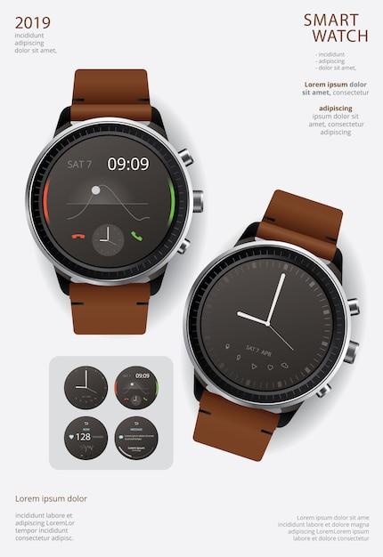Slimme horloge poster sjabloon Premium Vector