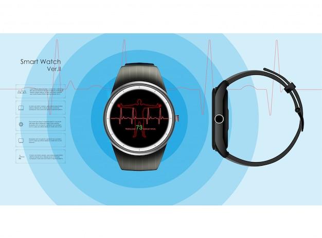 Slimme horloges die de parameters van slaap en rust, gezondheid en hartslag controleren. illustratie Premium Vector