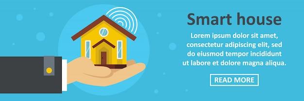 Slimme huis banner sjabloon horizontale concept Premium Vector