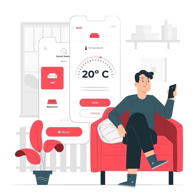 Slimme huis concept illustratie Gratis Vector