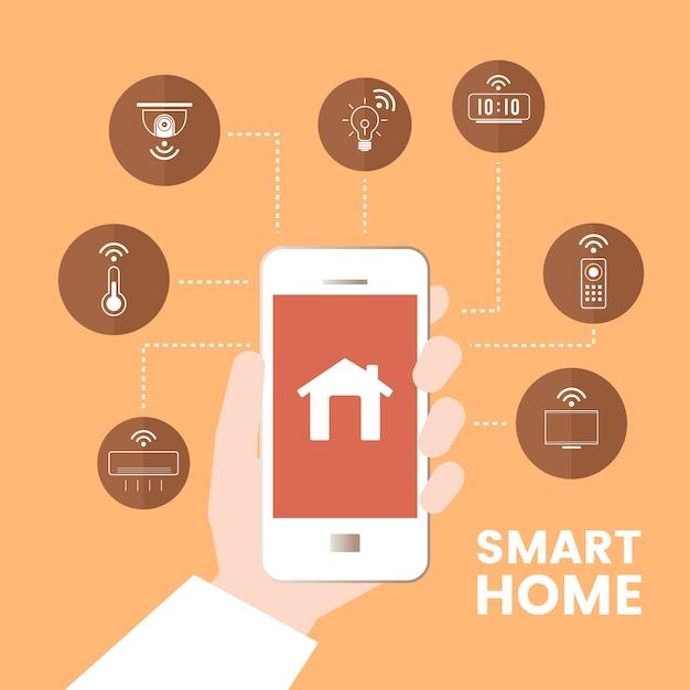 Slimme huis gecontroleerd door telefoon infographic vector Gratis Vector