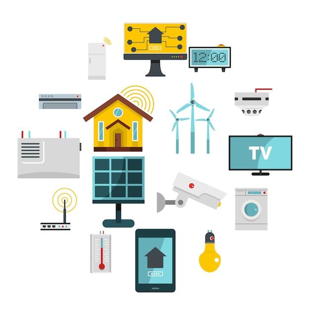Slimme huis huis pictogrammen instellen in vlakke stijl Premium Vector