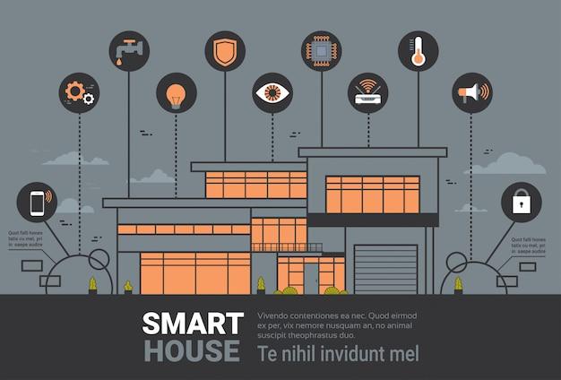 Slimme huis infographics banner modern huis draadloze controle technologie systeem concept Premium Vector