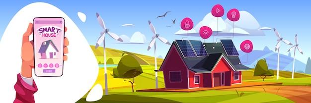 Slimme huis kunstmatige intelligentie technologie concept. smartphone in de hand met app voor het bedienen van huishoudelijke apparaten. internet of things-toepassingsservices, groene energie cartoon afbeelding Gratis Vector