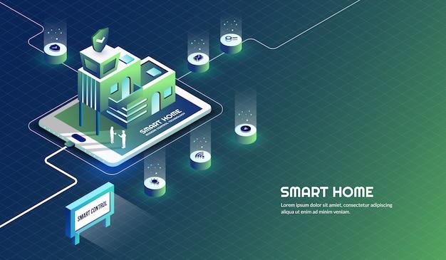 Slimme huis moderne technologiecontrole en veiligheidsachtergrond Premium Vector