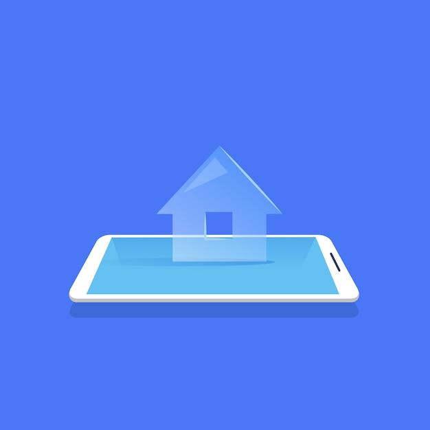 Slimme huis pictogram mobile home control applicatie blauwe achtergrond platte vectorillustratie Premium Vector