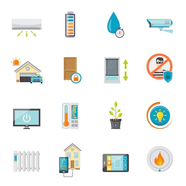 Slimme huis vlakke pictogrammen instellen Gratis Vector