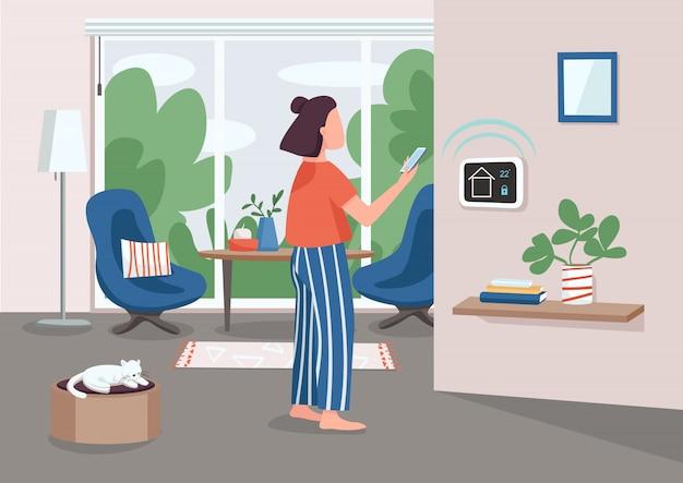 Slimme huisbeheer paneel egale kleur illustratie. jonge vrouw met behulp van smartphone 2d stripfiguur met geautomatiseerde appartement op achtergrond. iot-technologie. afstandsbediening voor huishoudelijke apparaten Premium Vector