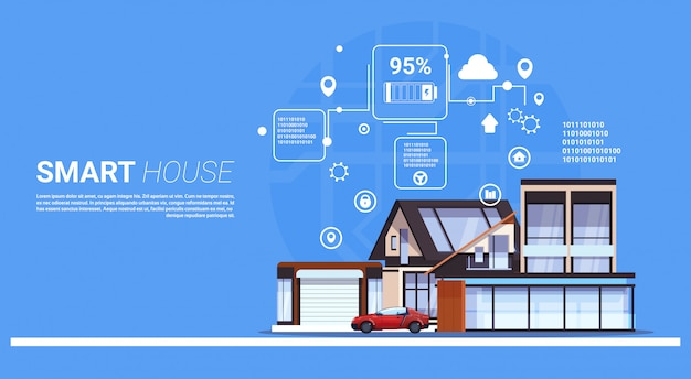 Slimme huistechnologie van domotica concept sjabloon infographic achtergrond Premium Vector
