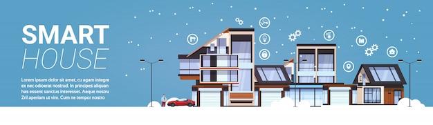 Slimme huistechnologie van domotica concept sjabloon infographic horizontale banner achtergrond Premium Vector