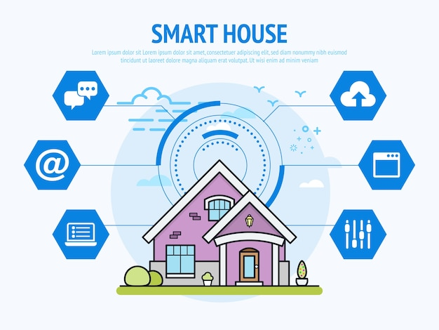 Slimme huistechnologie van domotica-concept. Premium Vector