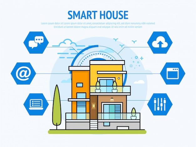 Slimme huistechnologie van infographic huisautomatiseringsconcept Premium Vector