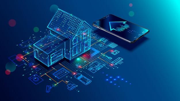 Slimme huisverbinding en controle met apparaten via thuisnetwerk Premium Vector