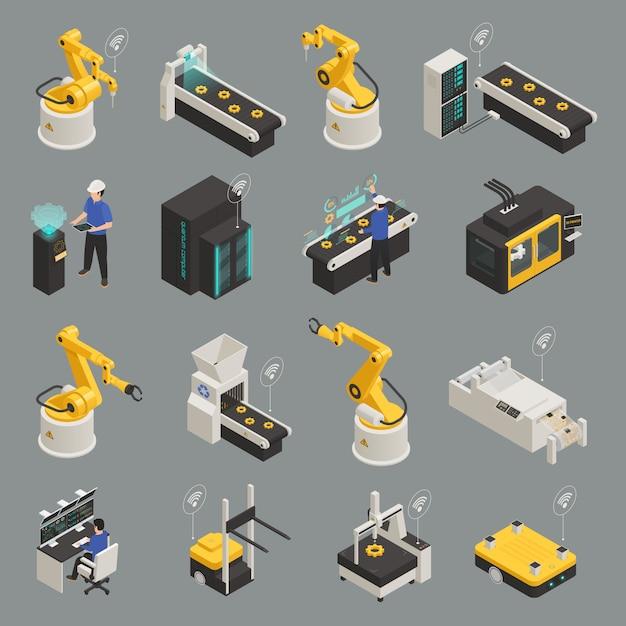 Slimme industrie isometrische icons set Gratis Vector