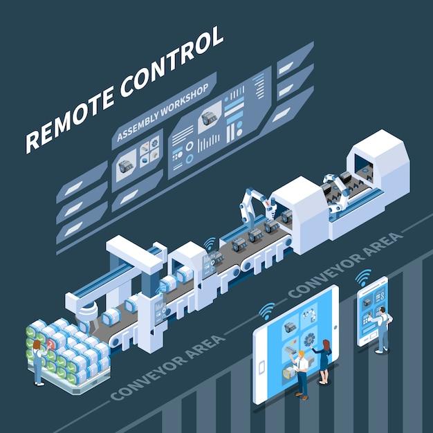 Slimme industrie isometrische samenstelling met afstandsbediening van transportsysteem op donker Gratis Vector