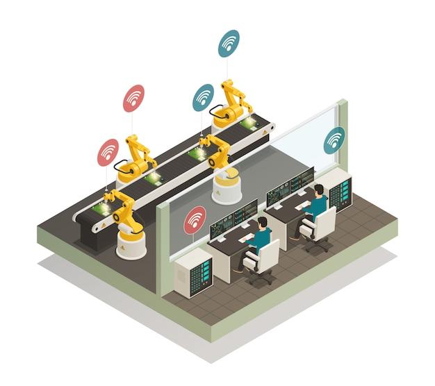 Slimme industrie productie isometrische samenstelling. Gratis Vector