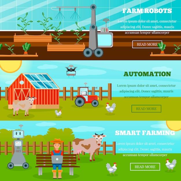 Slimme landbouw horizontale banners Gratis Vector