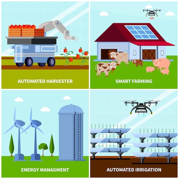 Slimme landbouw orthogonale concept illustratie Gratis Vector