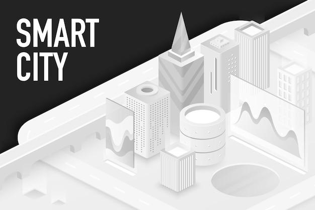 Slimme moderne stad, moderne architectuur, futuristische technologieillustratie Premium Vector