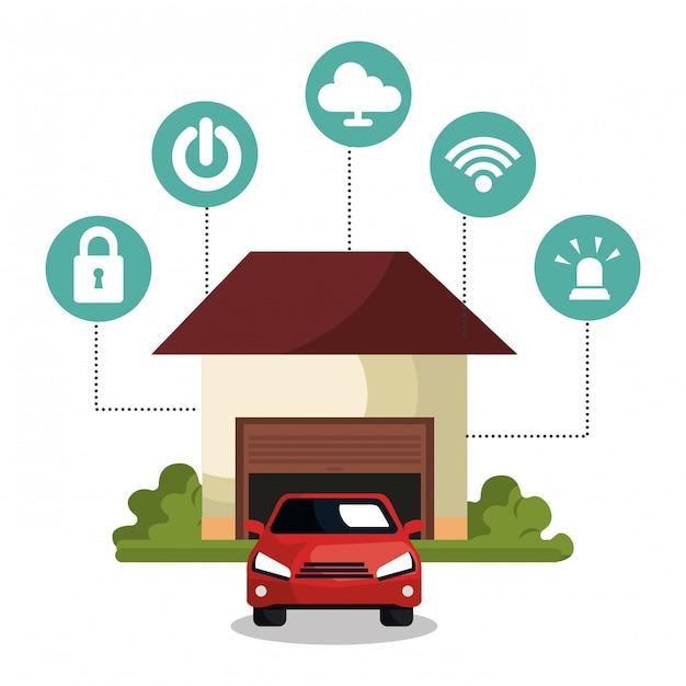 Slimme pictogrammen voor thuistechnologie Gratis Vector
